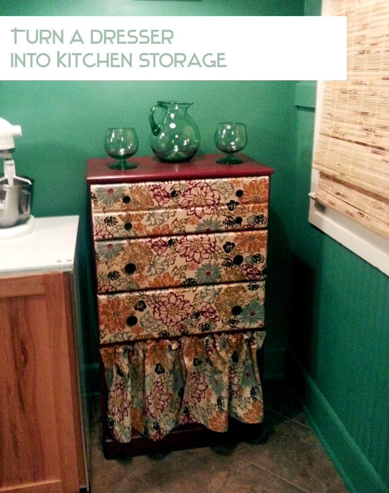 diy furniture redo use a dresser for easy kitchen storage. Black Bedroom Furniture Sets. Home Design Ideas