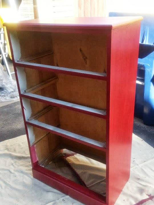 Red dresser furniture redo