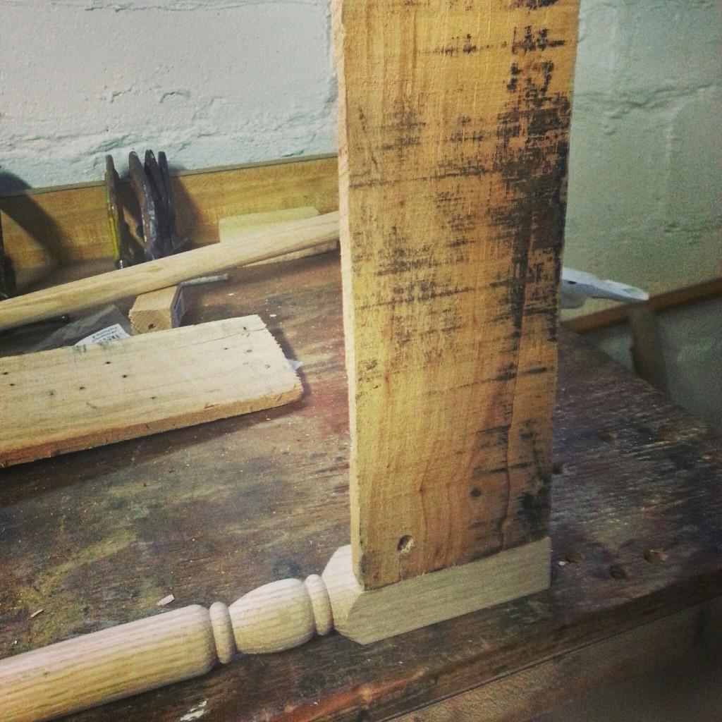 DIY use balustrade as table leg