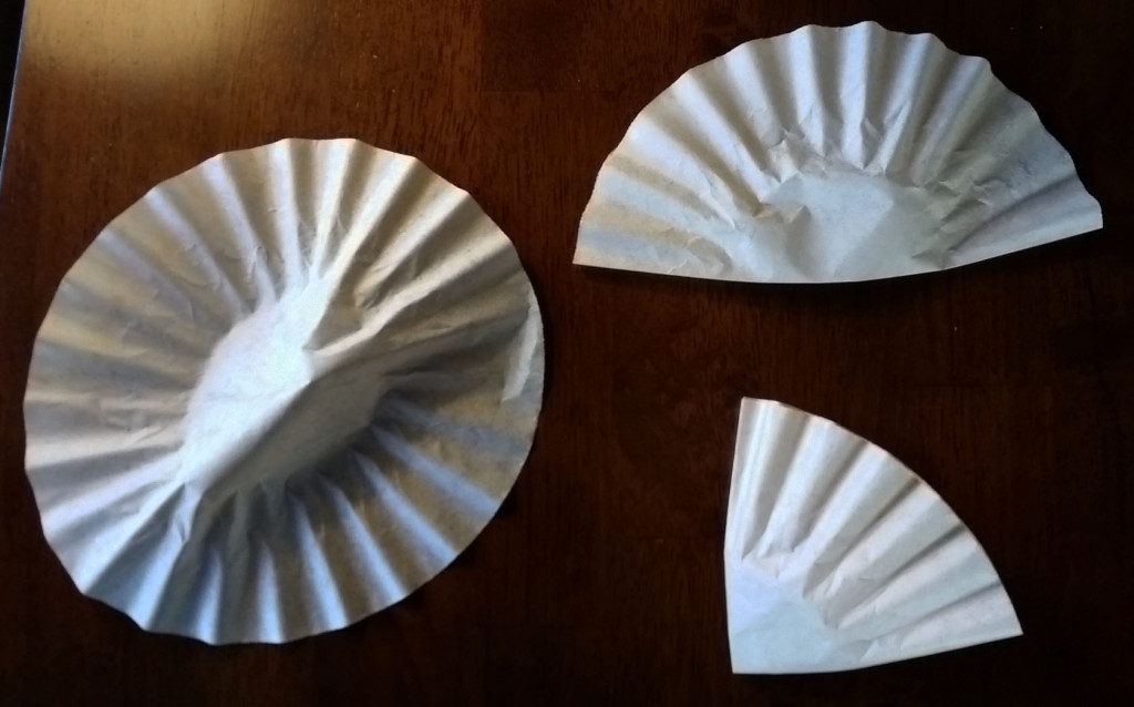 Coffee filters folded to make wreath