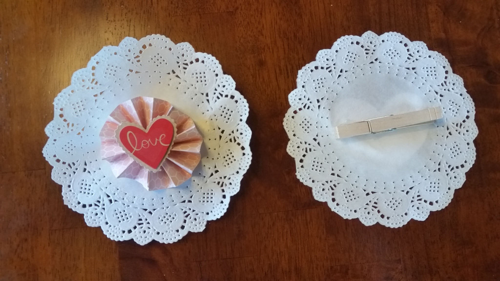 Doilies and hearts for wreath