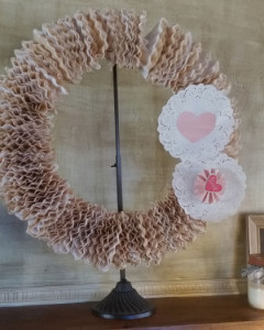 DIY Valentines Wreath with Coffee Filters