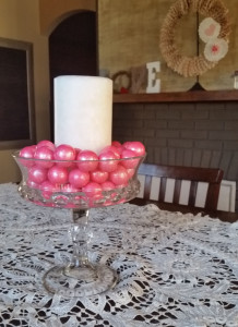 Valentine's Day centerpiece with candle