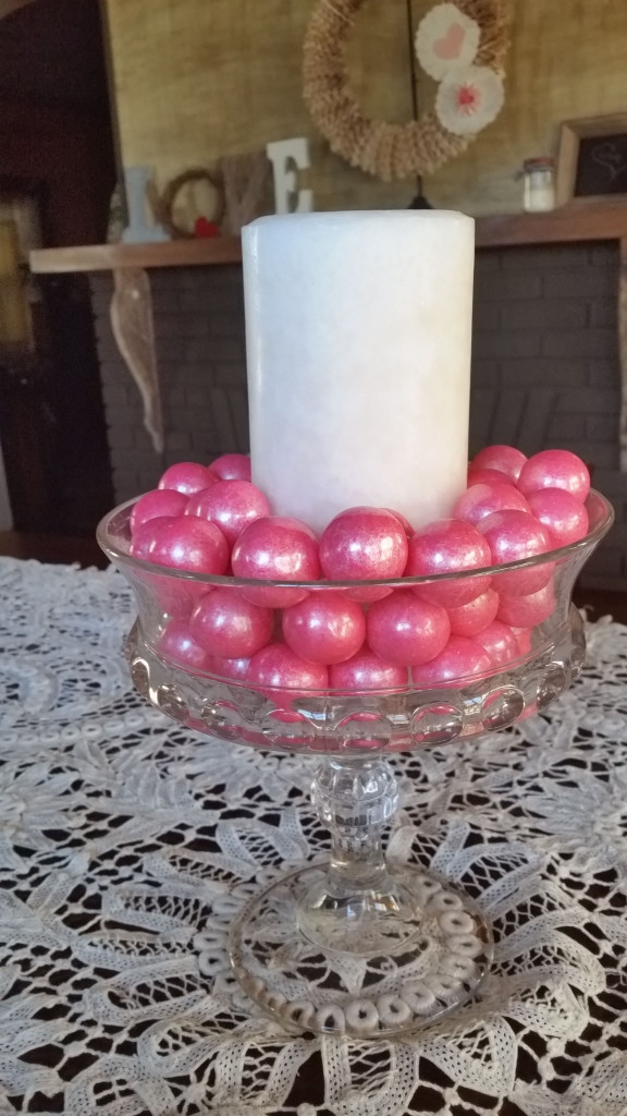 candy and candle centerpiece